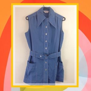 70s Blue Button Up Mini Tennis Dress Bloomers VTG